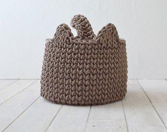 Crochet basket, livingroom organizer, rope storage basket, cat basket, nursery basket, kids room storage, home organizer