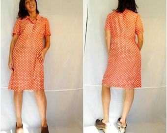 Pink polka dot dress peach silk summer shirt dress simple sheath dress vintage 90s size Medium
