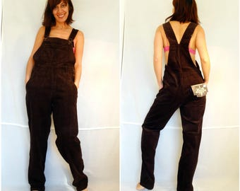 Womens bib overalls loose corduroy overalls size M brown loose pants oversize overalls bohemian wide leg jumpsuit vintage 90s dead stock