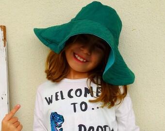 Reversible floppy summer hat wide brim hat sun hat for her floppy hat floppy beach hat green turcuoise vintage