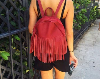 Fringe Backpack Leather, Backpack Purse, College Backpack, School Bag, Made in Greece from Full Grain Leather.