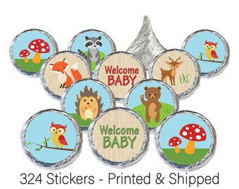 Woodland Baby Shower Hershey® Kisses Stickers, Forest Animals Party Favor, Woodland Creatures Baby Shower Favors - 324 Printed Stickers