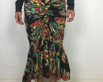 Vtg 80s does 50s Norma Kamali floral cotton ruched flamenco body con cha cha skirt