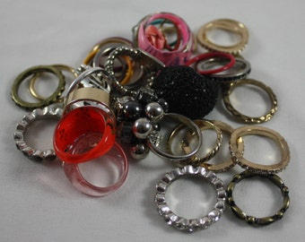 Junk Jewelry Rings Grab Bag  Lot of Over 30 Different Styles And Sizes Up-cycle Recycle Re-purpose