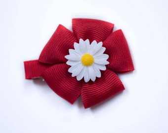 Small red flower hair clip; baby hair accessory; little girls hair accessory;
