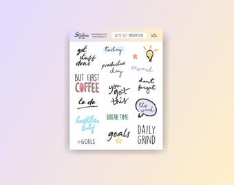 Productivity Stickers / planner stickers, motivational stickers, word stickers, hand drawn stickers, fun stickers, to do stickers / WD6