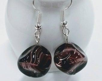 Purple Czech Cube Earrings, Cube Earrings,Bead Earrings, Czech Bead Earrings, Glass Bead Earrings, Gift for Her, UK Shop