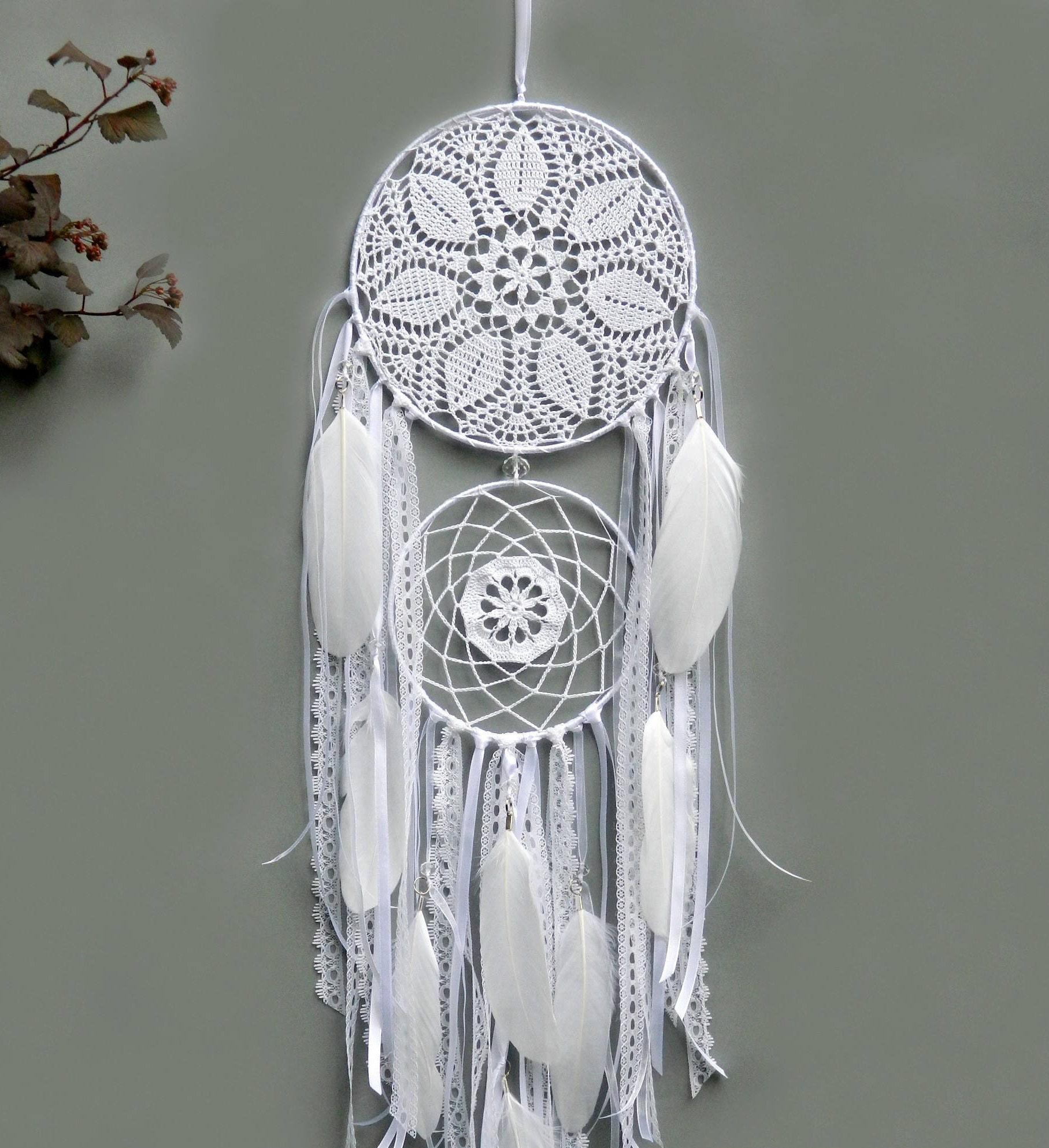 White lace dream catcher Crochet bohemian wedding decor Boho bedroom