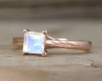 Rose Gold Moonstone Ring, Moonstone Nature Ring, Branch, Vine Ring, Nature Inspired Ring, Rainbow Moonstone Ring Square Stone Vintage Ring