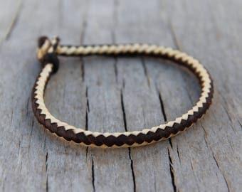 Handcraft natural leather bracelet.Saylor style handmade leather bracelet.Traditinal braided leather armband.Unique.Man bracelet.Woman band.