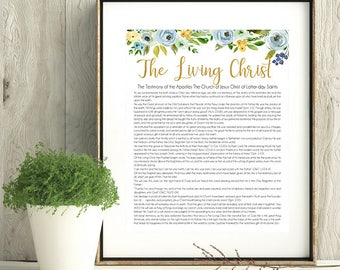The Living Christ Proclamation, LDS Wall Art, Printable, Instant Download, LDS green blue gold art, Watercolor flowers, 8x10, 11x14