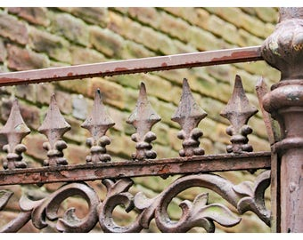 New Orleans photography, French Quarter, wrought iron fence, travel photography, fine art print, shabby chic, New Orleans home decor