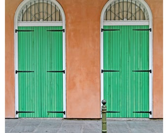 New Orleans photography, French Quarter, travel photography, Louisiana wall art, NOLA, green doors, street photography, square art print