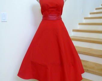 Vintage 1970s Red Dress, 70s Sundress, Circle Skirt, Summer Dress