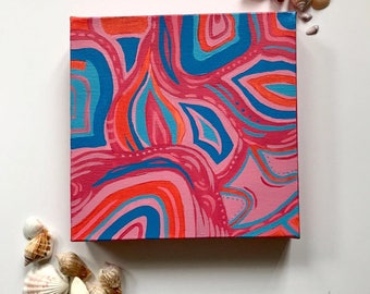 Abstract Pink Acrylic Painting