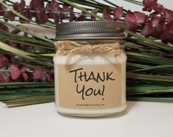8oz Thank You Gift - Employee Appreciation - Personalized Candles - Mason Jar Candles - Teacher Gifts - Coworker Gifts - Hostess Gift