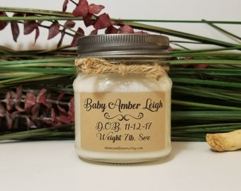 New Baby Gift - 8 oz Personalized Soy Candle - Baby Keepsake - Baby's First Christmas - Newborn Keepsake - Baby Girl Gift - Baby Boy Gift