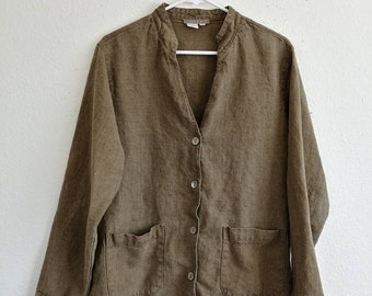 Vintage Ivy Green Linen Jacket