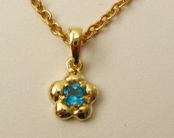 Genuine SOLID 9K 9ct Yellow GOLD March Birthstone Daisy Aquamarine Pendant