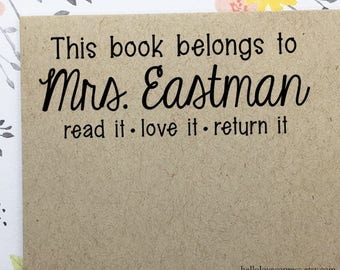 Read It, Love It, Return It Stamp, This Book Belongs To Stamp, Teacher Stamp, Wood Rubber Stamp, Self Ink Stamp, Classroom Library Stamp