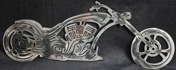 Custom Style Chopper, Biker, Metal Style Chopper, Metal Motorcylce, Metal Wall Art, Office Decor, Biker Bar Decor, Man Cave Decor, Gift