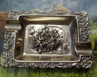Silverplate Small Ashtray Colonial Tavern Scene