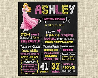 Sleeping Beauty Birthday Chalkboard Poster - Disney Princess Aurora Wall Art design - Birthday Party Poster Sign - Any Age
