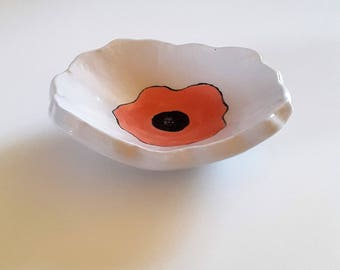 "Cup ""poppy"" ceramic rests-ring, hand made ceramic Vide poche poppy, Provence gift, gift for MOM"