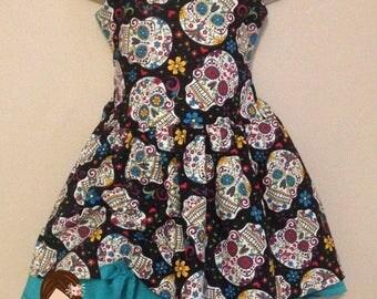 Girls Sugar Skull Dress | Day of the Dead Dress | Dia de los Muertos | Girls Halloween Dress | Costume Dress