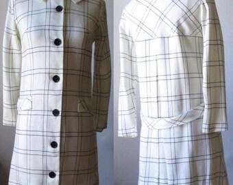 1960s does 1920s Lightweight Windowpane Plaid Coat - Vintage - White with Black - Drop-waist