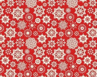 """9"""" REMNANT - Scandi 2 by The Henley Studio for Makower UK, Pattern #L1480-R7S Snowflake, Creamy White 1/2"""" - 1.5"""" Snowflakes on Red"""