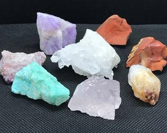 Chakra Healing Crystal Group/Clear Quartz points Cluster/Raw Red Jasper/Orange Carnelian/Citrine/Rose Quartz/Amazonite/Lepidolite/Amethyst