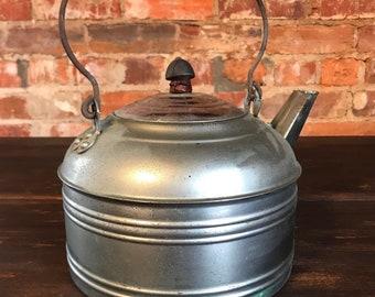 Vintage Metal Farmhouse Large Tea Kettle
