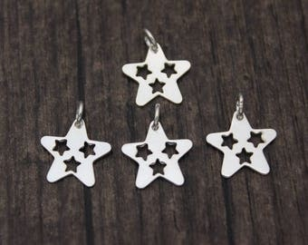 4PCS Sterling Silver Star Charm Pendant,Pentagram Charm ,Five-pointed star
