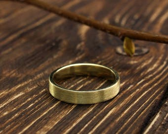 4mm yellow gold classic wedding ring, Matte finish flat ring, Simple wedding band, Traditional wedding ring, 14k solid yellow gold band