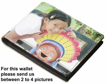 SMALL custom wallet for men using pictures from you - FREE SHIPPING - gift for dad boyfriend man personal purse my images pics personalized