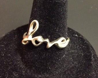 925 Sterling silver vintage cursive love ring, ladies Love Ring
