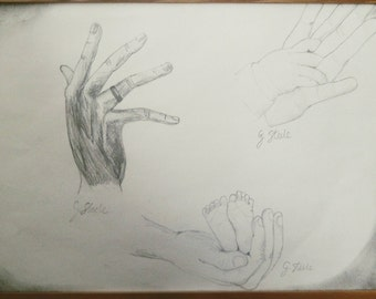 Hands. Adult/ Father's hand and baby feet/ Mother and child hands. Drawing and illustrations.