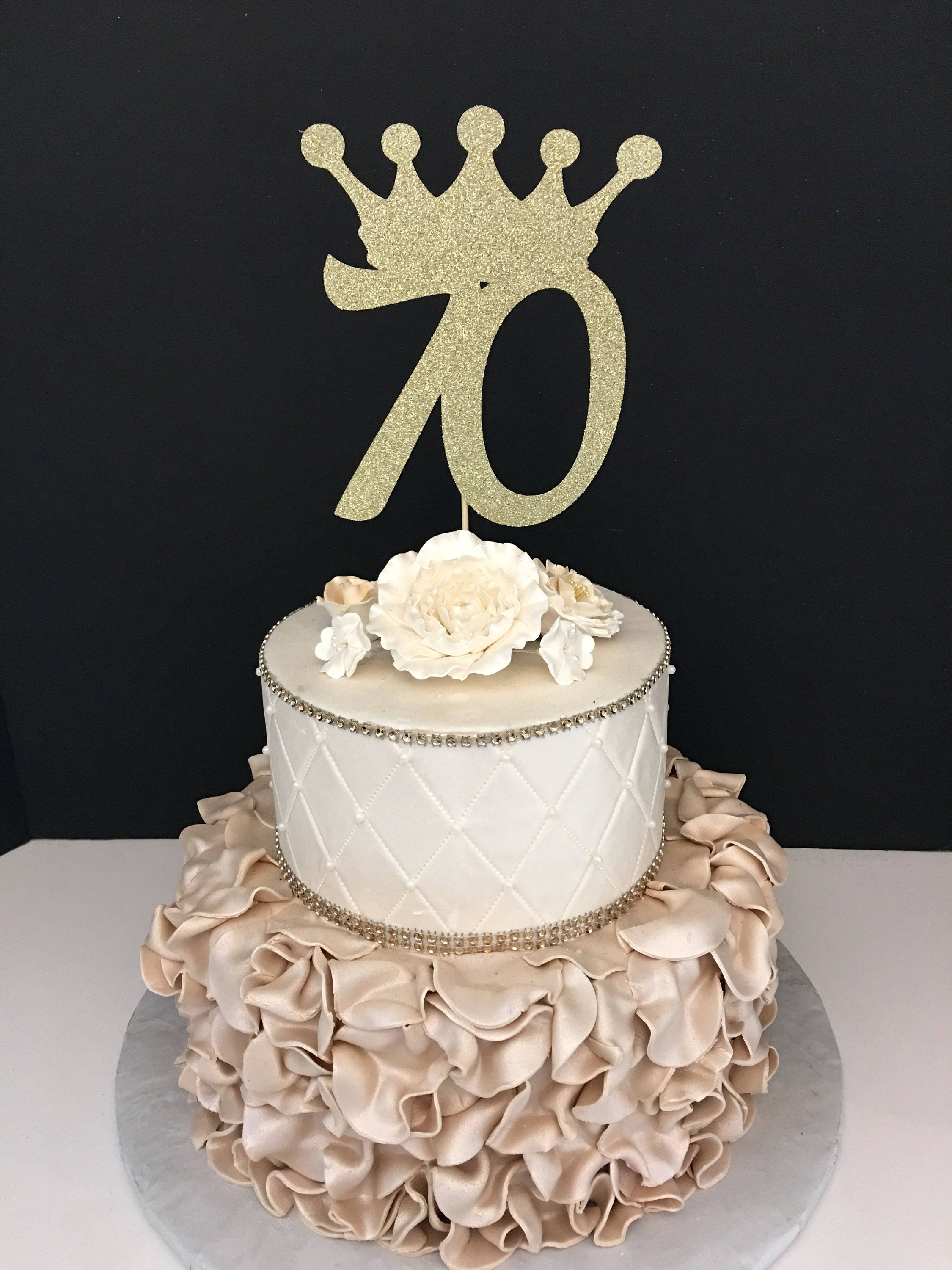 Any Number Gold Glitter 70th Birthday Cake Topper Number