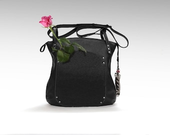 Black Leather bag cross-over everyday slouchy hobo  shoulder handbag women oversized minimalist classic cowhide crossbody zippered tote