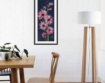 Floral Art Print. Flower Print. Flower Painting. Floral Painting. Pink Flowers. Wall Art. Wall Decor