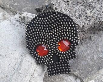 Halloween Brooch Skull jewelry Skull brooch Unique brooch Zipper brooch Day of the Dead Brooch Halloween pin Brooch for halloween