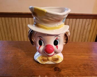 Vintage Relpo Clown planter 6008, 1960s ceramic clown head vase or planter.