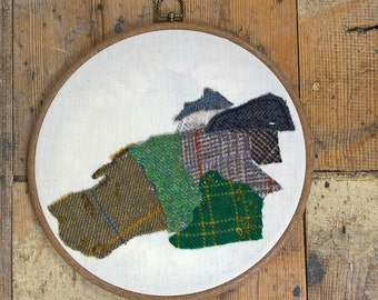 Scottish Crofthouse Cottage Landscape Tweed Art Textile Art Hoop Art croft house