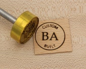 "1.5"" Round Custom Text w/Initials & Outline Branding Iron/Stamp for Wood or Leather"