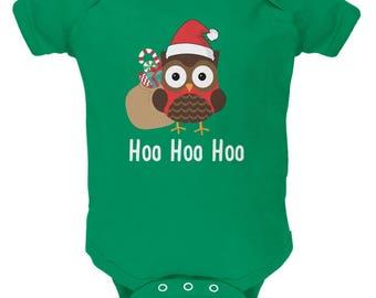Christmas Hoo Hoo Hoo Owl Kelly Green Soft Baby One Piece