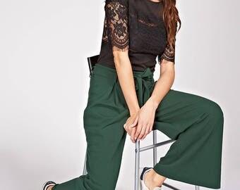 How pants Culottes, flared, waist belt