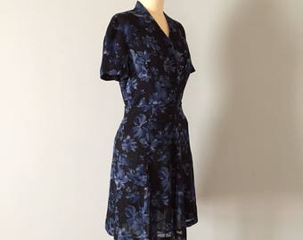 ANNE KLEIN II silk set | crop top and mini skater skirt set | indigo blue muted flowers set