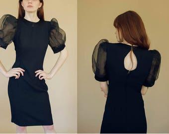 Vintage Black Sheer Sleeve Dress