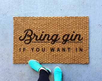 Bring gin outdoor coir door mat, front door mat family established, funny doormat, gin and tonic funny welcome mat, door mat, outdoor rug